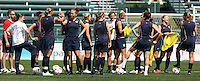 USWNT prepares to scrimmage. The U.S. Women's National Team holds a training session at Marina Auto Stadium in Rochester, NY on July 18, 2009 in preparation for a friendly soccer match against Canada there the next day.