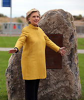 Pictured L-R: Hillary Clinton unveils a commemorative plaque on a rock at Swansea University Bay Campus. Saturday 14 October 2017<br /> Re: Hillary Clinton, the former US secretary of state and 2016 American presidential candidate will be presented with an honorary doctorate during a ceremony at Swansea University's Bay Campus in Wales, UK, to recognise her commitment to promoting the rights of families and children around the world.<br /> Mrs Clinton's great grandparents were from south Wales.