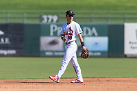 Surprise Saguaros shortstop Tommy Edman (18), of the St. Louis Cardinals organization, during an Arizona Fall League game against the Peoria Javelinas at Surprise Stadium on October 17, 2018 in Surprise, Arizona. (Zachary Lucy/Four Seam Images)