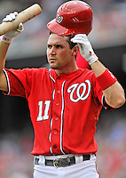 25 September 2011: Washington Nationals third baseman Ryan Zimmerman in action against the Atlanta Braves at Nationals Park in Washington, DC. The Nationals shut out the Braves 3-0 to take the rubber match third game of their 3-game series - the Nationals' final home game for the 2011 season. Mandatory Credit: Ed Wolfstein Photo