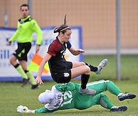 Monfalcone, Italy, April 26, 2016.<br /> Iran's goalkeeper #12 Naffei saves on USA's #15 Martinez during USA v Iran football match at Gradisca Tournament of Nations (women's tournament). Monfalcone's stadium.<br /> © ph Simone Ferraro / Isiphotos