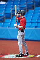 Mace Harlan of Woodmont High School (SC) playing for the Red Sox scout team waits for his turn to hit during the South Atlantic Border Battle Futures Game at Truist Point on September 25, 2020 in High Pont, NC. (Brian Westerholt/Four Seam Images)