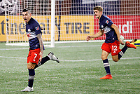 20th November 2020; Foxborough, MA, USA;  New England Revolution forward Gustavo Bou reacts to his winner in stoppage time during the MLS Cup Play-In game between the New England Revolution and the Montreal Impact