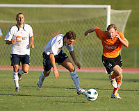 Samuel Ricketts (BW) contests the ball against Luke Williams (CE).  The Charlotte Eagles currently in 3rd place in the USL second division played a friendly against the Bolton Wanderers from the English Premier League losing 3-0.