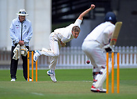 Wellington's Logan Van Beek bowls during day two of the Plunket Shield cricket match between the Wellington Firebirds and Auckland at Basin Reserve in Wellington, New Zealand on Saturday, 9 November 2019. Photo: Dave Lintott / lintottphoto.co.nz