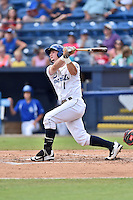 Asheville Tourists shortstop Brendan Rodgers (1) swings at a pitch during a game against the Greenville Drive at McCormick Field on July 24, 2016 in Asheville, North Carolina. The Drive defeated the Tourists 12-5. (Tony Farlow/Four Seam Images)