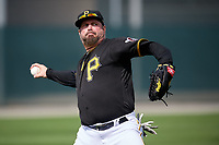 Pittsburgh Pirates Garth Brooks (7) throws the ball in during the teams first Spring Training practice on February 18, 2019 at Pirate City in Bradenton, Florida.  (Mike Janes/Four Seam Images)