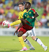Colombia's James Rodriguez (b) and Cameroon's Olivier Boumal during international friendly match. June 13,2017.(ALTERPHOTOS/Acero) (NortePhoto.com) (NortePhoto.com)