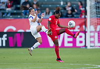 CARSON, CA - FEBRUARY 07: Priscila Chinchilla #14 of Costa Rica battles with Kadeisha Buchanan #3 of Canada during a game between Canada and Costa Rica at Dignity Health Sports Complex on February 07, 2020 in Carson, California.