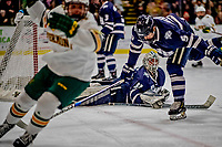 9 February 2019: University of New Hampshire Wildcat Goaltender Mike Robinson, a Sophomore from Bedford, NH, gives up a  second period goal to the University of Vermont Catamounts at Gutterson Fieldhouse in Burlington, Vermont. The Wildcats fell to the Catamounts 4-1 splitting their 2-game Hockey East weekend series. Mandatory Credit: Ed Wolfstein Photo *** RAW (NEF) Image File Available ***