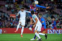 20th September 2021; Nou Camp, Barcelona, Spain; La Liga football league, FC Barcelona versus Granada CF;  Ronald Araujo of FC Barcelona wins the header above Nevas during the Liga match between FC Barcelona and Granada CF .
