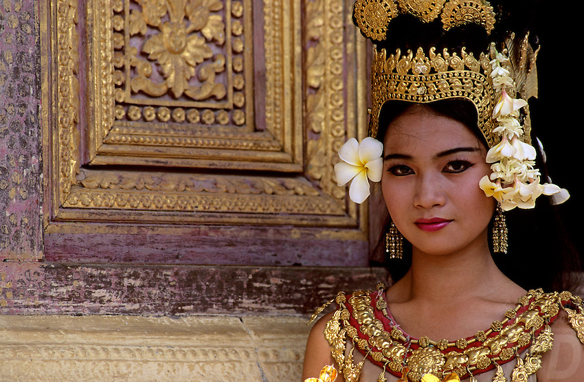 This girl was one of the very first APSARA dancers performing at the Grand Palace in the Royal Performance Hall in Phnom Penh after the fall of Pol Pot, one of first images taken at the Grand Palace with the traditional APSARA Dancers, Cambodia