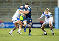 12th February 2021; AJ Bell Stadium, Salford, Lancashire, England; English Premiership Rugby, Sale Sharks versus Bath;  Jono Ross (C) of Sale Sharks is tackled with  Rhys Priestland of Bath Rugby watching on