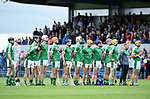 Limerick stand for the anthem before their Munster U-21 hurling quarter final against Clare at Cusack park. Photograph by John Kelly.