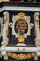barocke Kanzel in St.Nikolai in Wismar, Mecklenburg-Vorpommern, Deutschland, UNESCO-Weltkulturerbe
