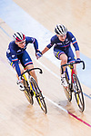 Coralie Demay and Laurie Berthon of France compete on the Women's Madison 30km Final during the 2017 UCI Track Cycling World Championships on 15 April 2017, in Hong Kong Velodrome, Hong Kong, China. Photo by Chris Wong / Power Sport Images