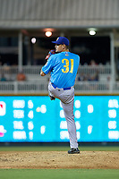 Amarillo Sod Poodles pitcher Michel Baez (31) during a Texas League game against the Frisco RoughRiders on July 13, 2019 at Dr Pepper Ballpark in Frisco, Texas.  (Mike Augustin/Four Seam Images)