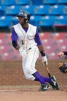 Justin Greene #2 of the Winston-Salem Dash follows through on his swing versus the Frederick Keys at Wake Forest Baseball Stadium August 9, 2009 in Winston-Salem, North Carolina. (Photo by Brian Westerholt / Four Seam Images)