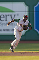 Fort Wayne TinCaps shortstop Ruddy Giron (12) on defense against the West Michigan Whitecaps on May 23, 2016 at Parkview Field in Fort Wayne, Indiana. The TinCaps defeated the Whitecaps 3-0. (Andrew Woolley/Four Seam Images)