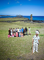 Rapa Nui, Easter island, oct 2011. Valentin Riroroko (79) junto con su hijos y nietos en el sector de Tahai en isla de Pascua (Rapa Nui) In Rapa Nui, also called Easter Island, the  king of the original people is back after a hundred years RirorokoTuki Valentino, the new monarch, is  an old man who has made his living as a farmer and fisherman and  traveled the world as a ship´s stowaways . <br /> He lives in a modest house in a rural area of the island near their 8 children and 24grandchildren.<br /> He was proclaimed King by the Assembly of Rapa Nui in July, and his reign has aunique purpose:  to finish with the Treaty of Wills from  1888, by which Chile took possession of Easter Island. The demand for Valentino and people ask seeks for Independence and also a billionare suit against Chilean state  for a century of apartheid and discrimination.