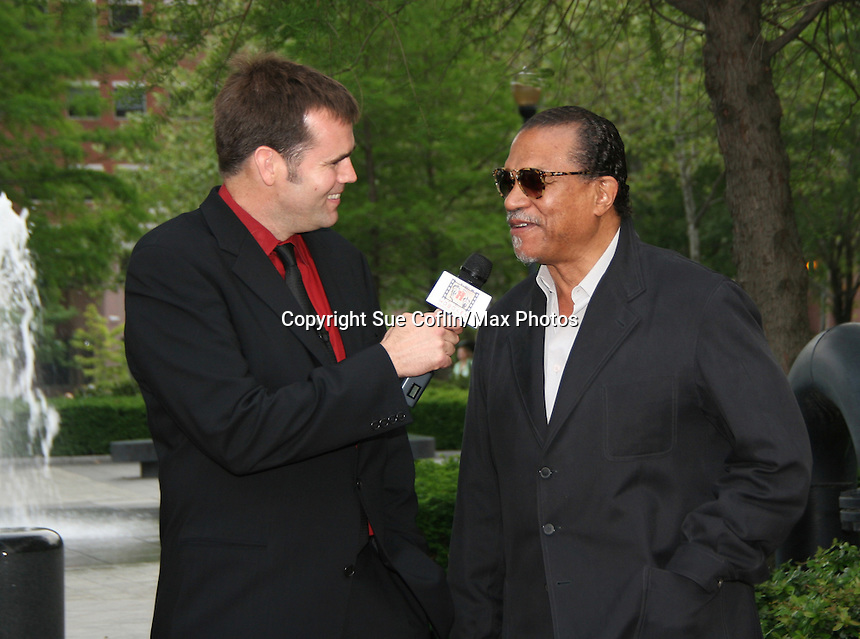 Billy Dee Williams (Night Shift) with Mark Farrell at the Gala Awards Ceremony of the 2008 Hoboken International Film Festival which concluded  with Billy Dee Williams being presented the Lifetime Achievement Award and then nominees and winners were announced on June 5, 2008 at Pier A Park, Hoboken, New Jersey.  (Photo by Sue Coflin/Max Photos)