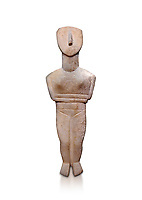 Female figurine statuette : Cycladic Canonical type, Spedos variety f. Early Cycladic Period II, (2800-2300 BC), ' Museum of Cycladic Art Athens, cat no 207. Against white.
