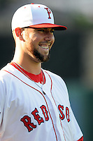 Pawtucket Red Sox starting pitcher Anthony Ranaudo #43 prior to a game versus the Scranton/Wilkes-Barre RailRiders at McCoy Stadium on August 25, 2013 in Pawtucket, Rhode Island. (Ken Babbitt/Four Seam Images)