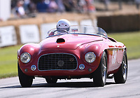 9th July 2021;  Goodwood  House, Chichester, England; Goodwood Festival of Speed; Day Two; Sally Mason-Styrron drives a 1950 Ferrari 166 M Barchetta in the Goodwood Hill Climb