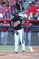 Travis Witherspoon #9 of the Visalia Rawhide bats against the High Desert Mavericks at Heritage Field on July 19, 2014 in Adelanto, California. Visalia defeated High Desert, 10-9. (Larry Goren/Four Seam Images)