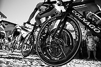 over the 'cobbles' up the final climb towards the Città Alta in Bergamo<br /> <br /> Stage 15: Valdengo › Bergamo (199km)<br /> 100th Giro d'Italia 2017