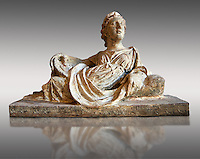 Etruscan Hellenistic style cinerary, funreary, urn  cover with a depiction of a women,  National Archaeological Museum Florence, Italy , against grey