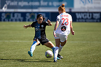 HERRIMAN, UT - JULY 18: Nahomi Kawasumi #9 of Sky Blue FC and Tori Huster #23 of Washington Spirit play for a ball during a game between Sky Blue FC and Washington Spirit at Zions Bank Stadium on July 18, 2020 in Herriman, Utah.