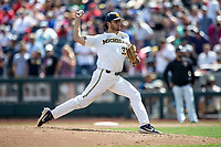 Michigan Wolverines pitcher Karl Kauffmann (37) delivers a pitch to the plate during Game 1 of the NCAA College World Series against the Texas Tech Red Raiders on June 15, 2019 at TD Ameritrade Park in Omaha, Nebraska. Michigan defeated Texas Tech 5-3. (Andrew Woolley/Four Seam Images)