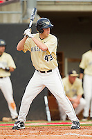 Grant Shambley #43 of the Wake Forest Demon Deacons at bat against the North Carolina State Wolfpack at Doak Field at Dail Park on March 17, 2012 in Raleigh, North Carolina.  The Wolfpack defeated the Demon Deacons 6-2.  (Brian Westerholt/Four Seam Images)