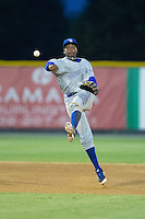Bluefield Blue Jays shortstop Jesus Severino (33) makes a throw to first base against the Burlington Royals at Burlington Athletic Stadium on June 27, 2016 in Burlington, North Carolina.  The Royals defeated the Blue Jays 9-4.  (Brian Westerholt/Four Seam Images)