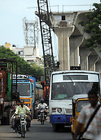 Highway construction site and traffice in Madras, India