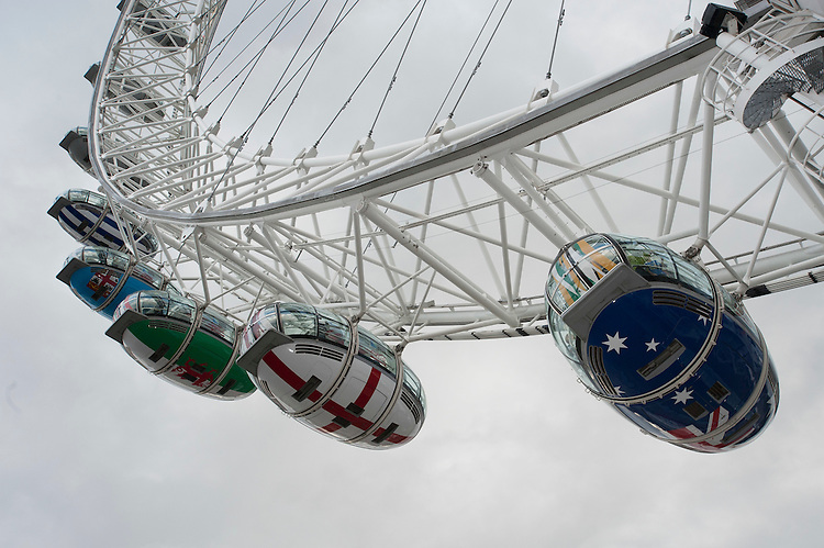 The London Eye pods are branded with each nation's colours for the launch of the Rugby World Cup England 2015- 15/09/2015 - London Eye - London <br /> Mandatory Credit: Rob Munro/Stewart Communications