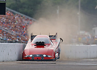 Aug 17, 2018; Brainerd, MN, USA; NHRA funny car driver Bob Bode hits the wall during qualifying for the Lucas Oil Nationals at Brainerd International Raceway. Mandatory Credit: Mark J. Rebilas-USA TODAY Sports