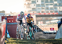 Eli Iserbyt (BEL/Pauwels Sauzen-Bingoal) & Wout van Aert (BEL/Jumbo-Visma) fighting it out<br /> <br /> 2020 Urban Cross Kortrijk (BEL)<br /> men's race<br /> <br /> ©kramon