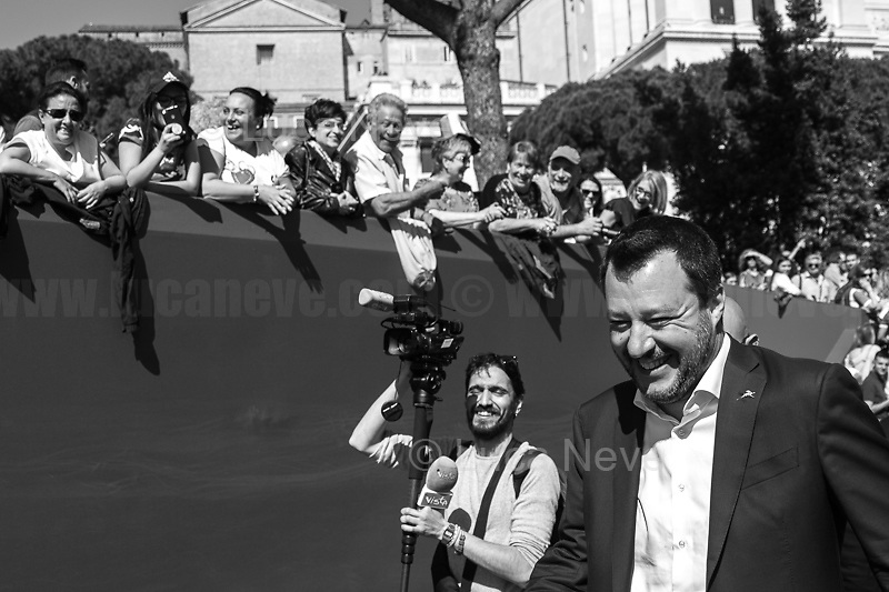 """Matteo Salvini (Deputy Prime Minister, Minister of the Interior, Leader of the League/Lega).<br /> <br /> Rome, 02/06/2019. Today, Italy celebrated the annual """"Festa Della Repubblica"""" (Republic Day, 1.). The 73rd Anniversary of the Italian Republic (*) was marked with the """"Raising the Flag Ceremony"""" and the tribute to the Sacello del Milite Ignoto (Unknown Soldier) at the Altare della Patria """"Vittoriano"""" (2.) by the President of the Italian Republic Sergio Mattarella, followed by the traditional army, veterans and civilians parade along Via Dei Fori Imperiali. This year, the President of the Republic was accompanied by the Defence Minister Elisabetta Trenta, the Italian Prime Minister Giuseppe Conte, the Presidents of the two Chambers of the Parliament, Roberto Fico and Maria Elisabetta Alberti Casellati, several members of the Italian Government, political leaders, senior officers of the Armed Forces and representatives of the Civilian Organizations. At the end of the events the Frecce Tricolori, the Italian Aerobatic Team, coloured the sky over Rome with the Tricolore (Tricolour: Green, White, Red) of the Italian Flag. The theme for this year's event was inclusiveness. <br /> <br /> Footnotes and Links:<br /> (*) The Referendum was held on 2 June 1946 and it marked the decision made by the Italian people to adopt the Republic as the new institutional form for the Country. <br /> 1. http://bit.do/eT8By (ITA) & http://bit.do/eT8Bv (ENG) at https://www.difesa.it/<br /> 2. http://bit.do/eT8BG (Wikipedia)"""