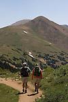Hikers on Herman Gulch Trail in James Peak Wilderness Area, west of Georgetown, Colorado.