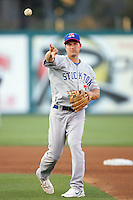 May 19, 2010: Mark Ellis of the Stockton Ports during game against the Lake Elsinore Storm at The Diamond in Lake Elsinore,CA.  Photo by Larry Goren/Four Seam Images