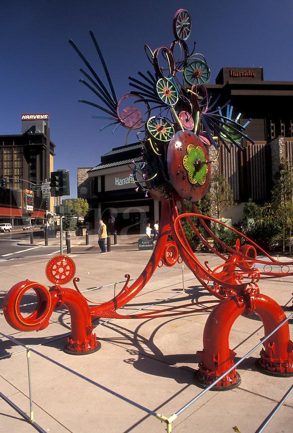 AJ3788, Lake Tahoe, South Lake Tahoe, sculpture, California, Nevada, Sculpture on street corner in the city of South Lake Tahoe in the state of California.
