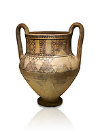 Phrygian terra cotta amphora decorated with geometric designs from Gordion. Phrygian Collection, 8th century BC - Museum of Anatolian Civilisations Ankara. Turkey. Against a white background