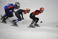 OLYMPIC GAMES: PYEONGCHANG: 10-02-2018, Gangneung Ice Arena, Short Track, Heats 1500m Men, Thibaut Fauconnet (CAN), Sjinkie Knegt (NED), Hongzhi Xu (CHN), ©photo Martin de Jong