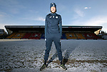 St Johnstone's Murray Davidson pictured at a very cold and snowy McDiarmid Park ahead of Saturday's Scottiah Cup game against Albion Rovers….18.01.18<br />Picture by Graeme Hart. <br />Copyright Perthshire Picture Agency<br />Tel: 01738 623350  Mobile: 07990 594431