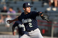 Eugene Emeralds pitcher Cody Hebner #2 pitches against the Salem-Keizer Valcanoes at Volcanoes Stadium on August 9, 2011 in Salem-Keizer,Oregon. Eugene defeated Salem-Keizer 13-7.(Larry Goren/Four Seam Images)