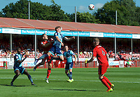 Dayle Southwell of Wycombe Wanderers wins the header during the Sky Bet League 2 match between Crawley Town and Wycombe Wanderers at Broadfield Stadium, Crawley, England on 6 August 2016. Photo by Alan  Stanford / PRiME Media Images.