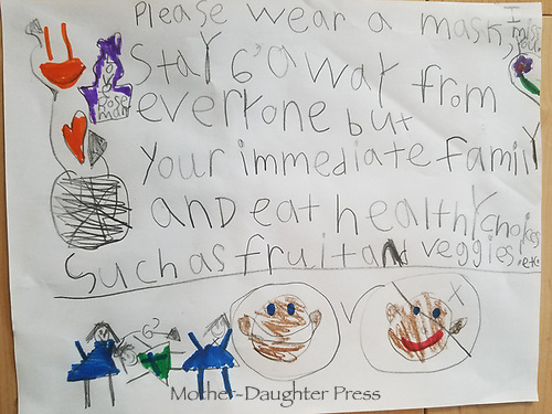 Health messages for COVID-19 by Rosemary Goldsmith Grade 1, Yarmouth ME, USA