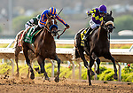 Maximum Security with Abel Cedillo overtakes Midcourt and Victor Espinoza to win the the San Diego Handicap at Del Mar, in Del Mar Ca, July 25, 2020. (Photo: Alex Evers)